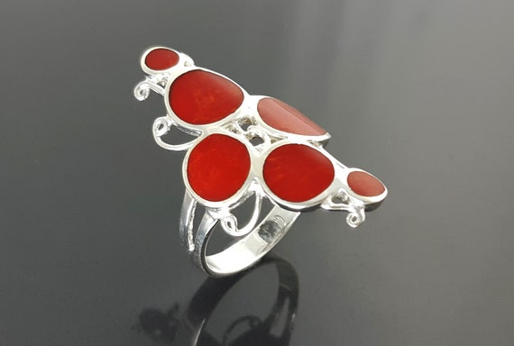 Red Stone Ring, Modern Red Ring, Sterling Silver 925, Unique Design Ring, Modern Women Ring, Red Coral Design Ring,Round Forms Ring.