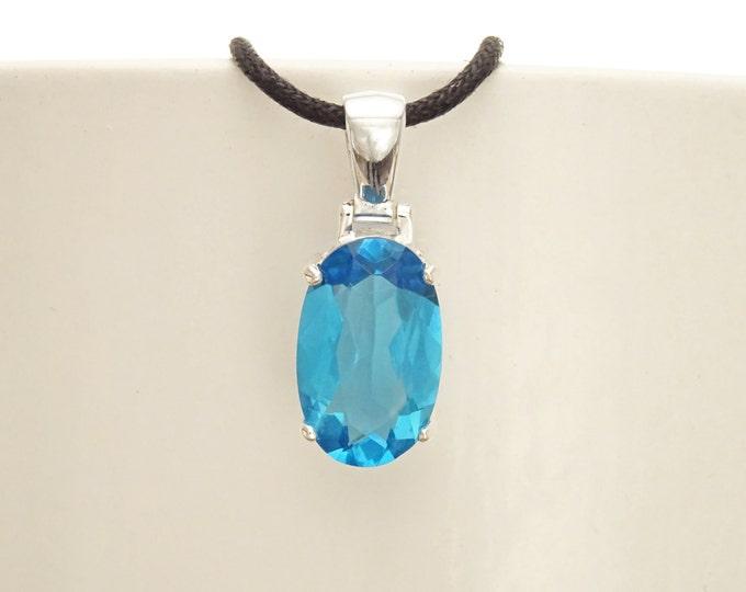 Blue Stone Necklace, sterling silver, classic oval shape topaz color Cz stone necklace, Classic Minimalist Stones jewelry, Blue Oval Pendant