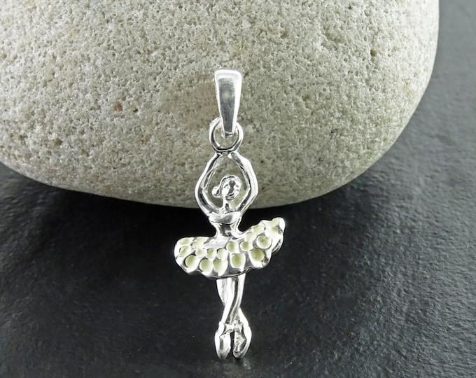 Ballerina Necklace, Sterling silver, Ballerina Charm, Dance Recital Gift, Dancer Silhouette, Dancer Jewelry, White Tutu Dress, Dancing Skirt