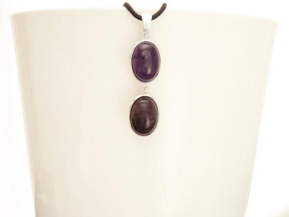 Amethyst Pendant, Sterling Silver Purple Amethyst Necklace Dark Natural Amethyst pendant Healing Gemstone Necklace Crystal Amethyst Stone
