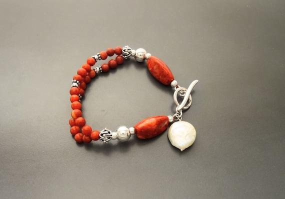 Red Gorgonian Bracelet - Sterling Silver - Pearl Bracelet - Ethnic Jewelry - Fashion Jewelry - Women Bracelet - Red Stone Jewelry -  Design.