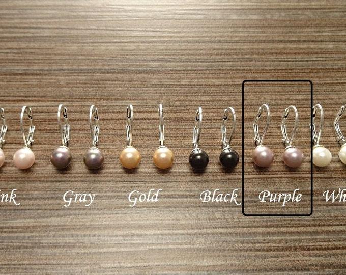 Purple Pearls Earrings, Sterling Silver, 12mm GENUINE Shell Pearls Lever Back Earrings, Minimalist, Pearl Jewelry,