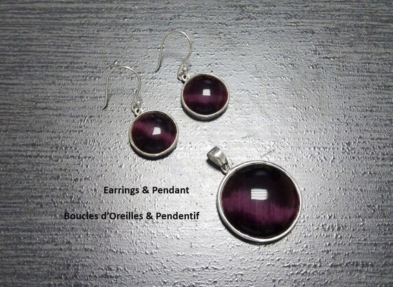 Purple Stone Earrings Set, Sterling Silver, Violet Pendant Set, Cat's Eye  Jewelry, Urban Jewelry, Modern Design, Statement, Gift, Fashion.