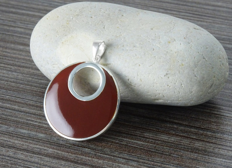 Red Round Pendant Sterling Silver Big Red Stone Jewelry image 0