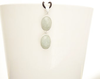 Jade Pendant, Sterling Silver Healing stone NOT-DYED NATURAL Jade Light Gemstone Minimalist Necklace Real Green Jade Stone Modern Jewelry