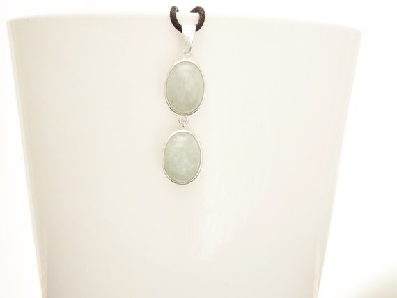 NATURAL Jade Pendant, Sterling Silver Healing stone NOT-DYED Jade Light Gemstone Minimalist Necklace Real Green Jade Stone Modern Jewelry