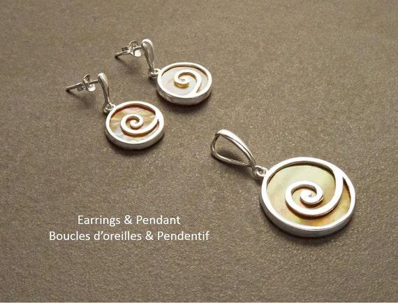 Copper Spiral - Swirl - Earrings and Pendant - Sterling Silver Jewelry - 925 - Shell Jewelry - Copper MOP - Boho wedding - Boho Jewelry.