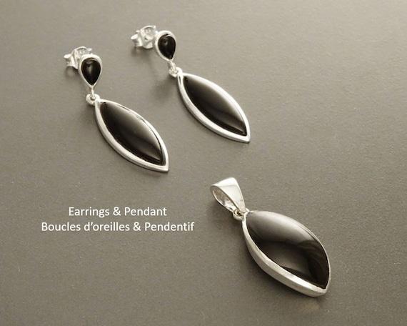 Black Onyx Set, Earrings and Pendant Set, Dangle Earrings, Onyx, Sterling Silver, Almond Shape, Bright Black, Deep Black, Dainty Jewelry.