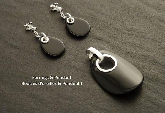 Earrings Pendant SET, Black Onyx - Sterling Silver, Black SET, Tearsdrop, Bright Black , Dainty Earrings, Black  Jewelry. Fashion, Gothic.