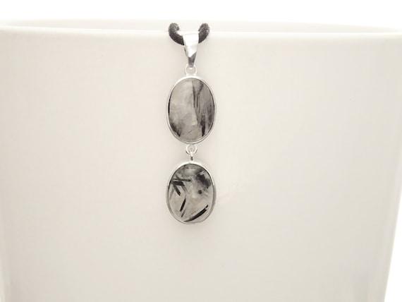 Black Rutilated Quartz Pendant, Sterling Silver, Clear Rutile Quartz Gemstone Pendant, Minimalist Modern Oval Stone Jewelry, Tourmalinated