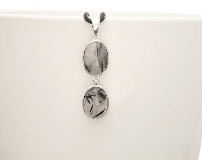 Quartz Pendant, Sterling Silver, Clear gray Rutile Quartz Stone, Black Rutilated Gemstone Necklace, Minimalist Modern Oval Stones Jewelry