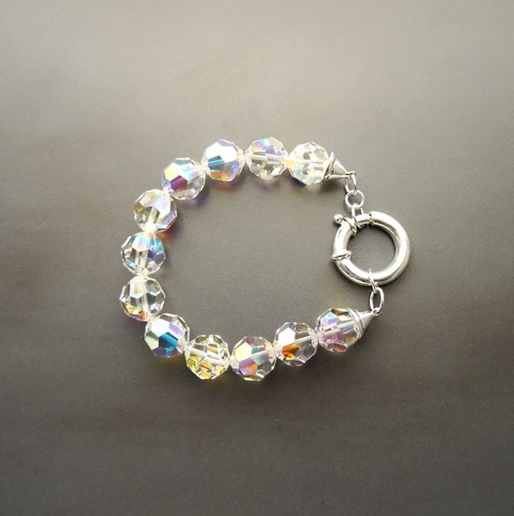 Casual Crystal Bracelet - Borealis Crystal Beaded Bracelet - 10mm balls - Sterling Silver Spring Ring Clasp - Crystal Beaded Bracelet