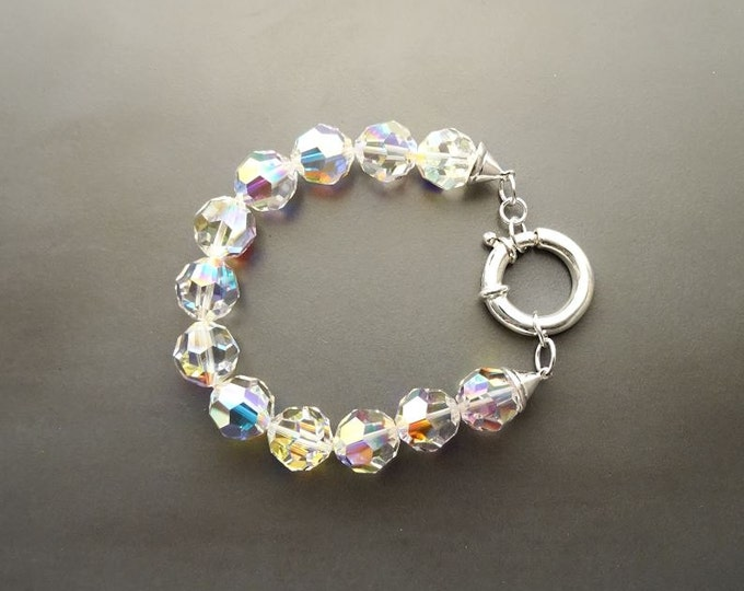 Rainbow Crystal Bracelet, Borealis Crystal Beaded Stones Bracelet, 10mm Stone Beads balls Jewelry, Sterling Silver Spring Ring Clasp