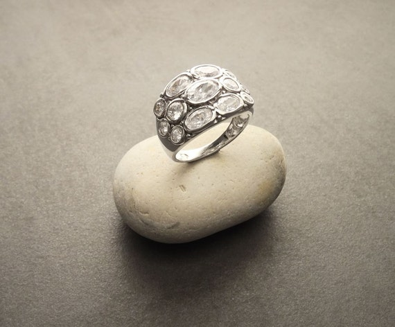 Boho Multiple Stones Ring, Sterling Silver, Intricate Design, Oval Unique Design Ring, Clear Zirconias Ring, Gypsy Jewelry, Hippy Rings