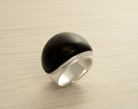 Black Onyx Ring - Sterling Silver 925 - Onyx Gemstone - Hipster Ring - Black Stone - Large Ring -  Silver jewelry - Genuine Onyx. Modern.