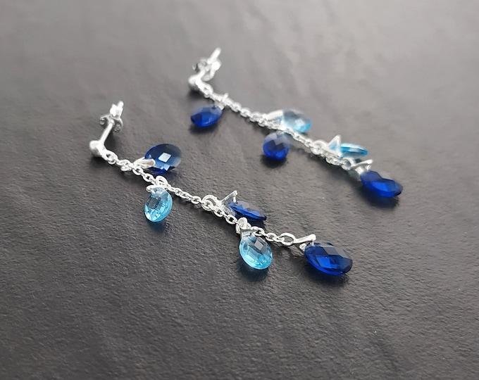 Blue Stone earrings, sterling silver, teardrop blue berry grape stones bunch earrings, dark blueberries color, modern chain jewelry
