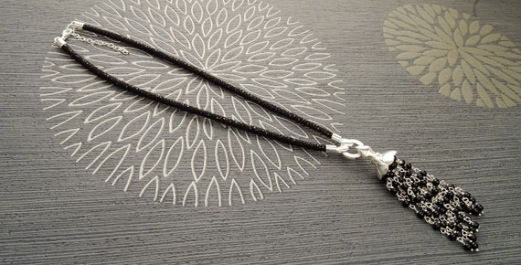 Onyx Lariat necklace. Boho necklace, Sterling Silver Pendant with, Onyx strands, Black Stingray, Leather Choker.