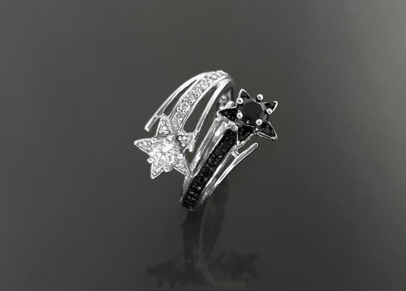 Stars Bypass Ring Make Wish Ring Lab Diamonds simulant CZ image 0