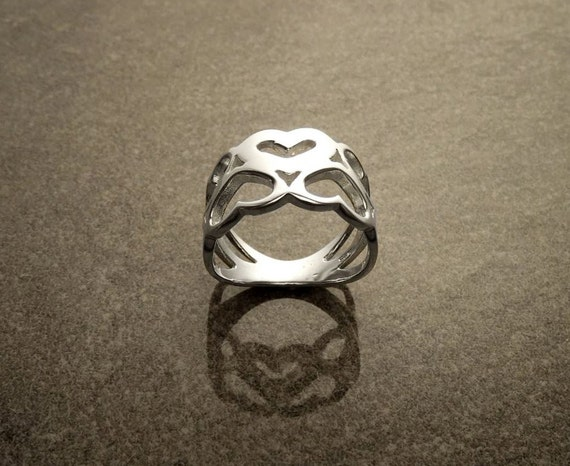 Love Ring, Heart Ring , Sterling Silver Ring, Heart Pattern , Crown of Hearts, Engagement Band, Filigree Ring, Gift, Valentine's day