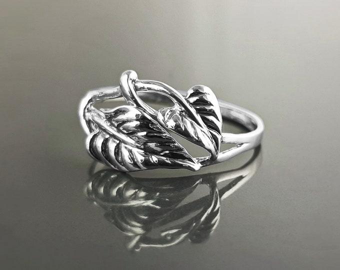 Cordate Leaf Ring, Sterling Silver, Plant Ring, Filigree Branch, Open Work Ring, Skeleton Leaves Veins Ring