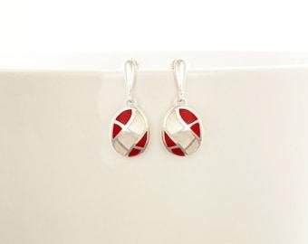 Red White Earrings, Mother of Pearl, Sterling Silver, Red Stone, Oval Mosaic Earrings, Wave Pattern , Inlay Dangle Earrings, Shell earrings.