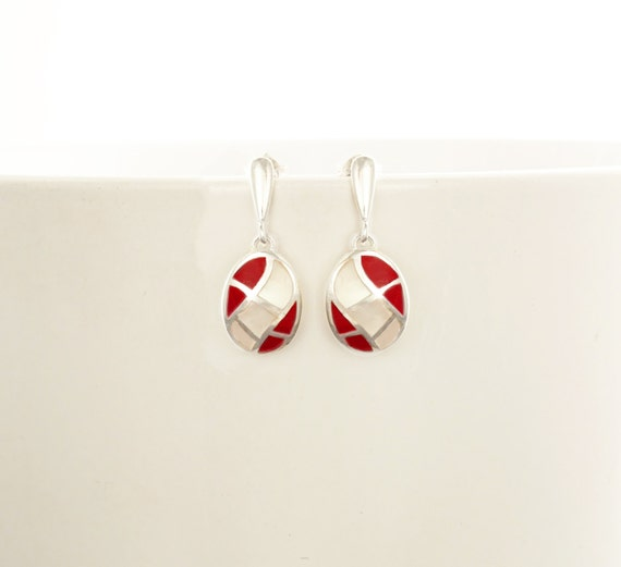 White, Mother of Pearl, Red, Sterling Silver Earrings, Oval Mosaic Earrings - Wave Pattern Earrings, Inlay Dangle Earrings, Shell earrings.