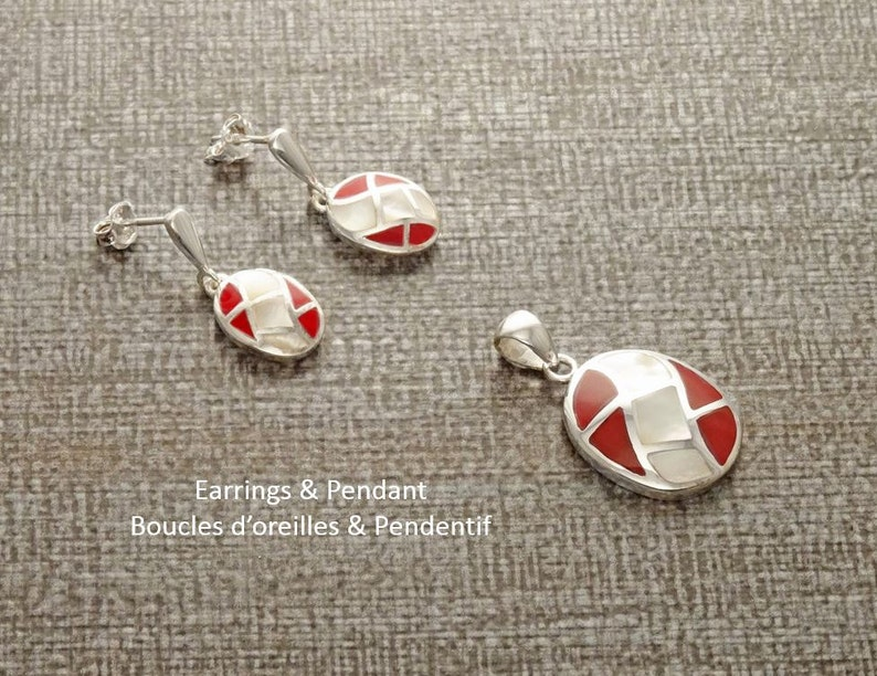 Red Oval Earrings Set Sterling Silver White Mother of Pearl image 0