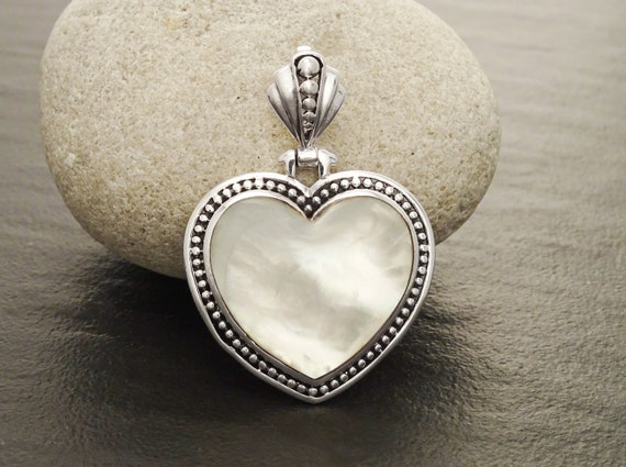 White Heart Pendant, Mother of Pearl Pendant, Sterling Silver pendant, MOP pendant, Shell Pendant, Love, Boho, Gothic Wedding, Heart Jewelry