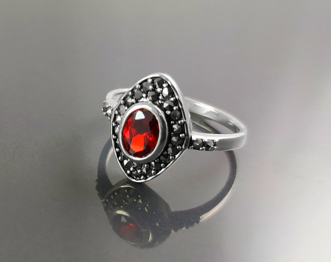 Vintage Garnet Ring, Sterling Silver, Marquise Ring, Garnet Red Color Stone (Cz), Retro Stone Rings, Antique Jewelry, Women's Gifts