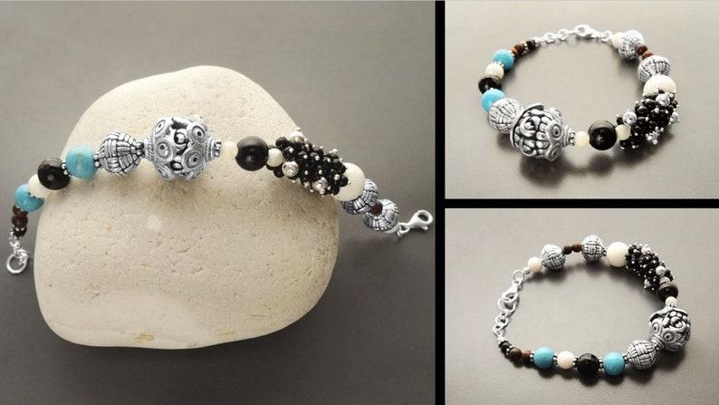 Indie Bracelet Boho Turquoise Bracelet Hipster Bracelet Gypsy Bracelet Boho Bracelet Sterling Silver -Tibetan Gemstone Beads