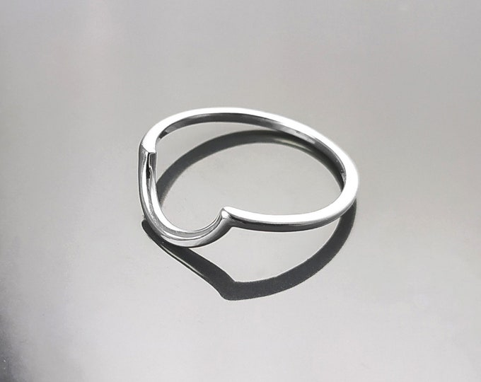 Half Moon ring, Sterling Silver, Arc Ring, Arch Ring, Half Circle Ring, Semi-Circle Ring, Modern Minimalist half round Ring, Curved Band,
