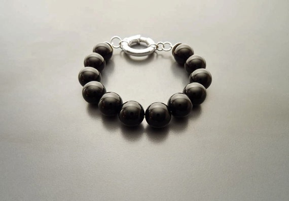 Black Onyx Bracelet - Onyx Beaded Bracelet - 10mm Beads - Sterling Silver - Spring Ring Clasp - Gemstone Bracelet - Semi-precious. Black.