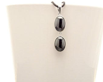 Gray Oval Pendant, Sterling Silver, NATURAL NOT-DYED Hematite Stones, Minimalist Dark Grey Double Stone Jewelry, Drop Pendant Necklace, Gift
