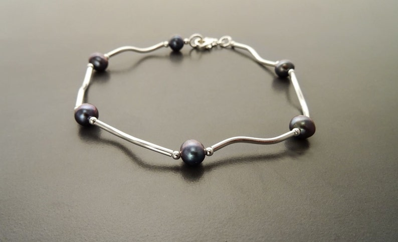 Paua Pearl Bracelet Sterling Silver Tahitian Style Blue Gray image 0