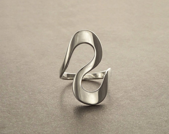 Wide Infinity Ring, Sterling Silver, Zigzag Ring, Wave Ring, Coins Ring, Turn Ring, Swirl jewelry, Curved Ring, Curve Ring, Bend Ring, Bends