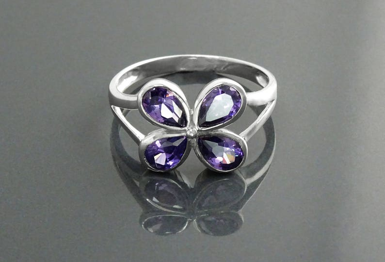 Modern Amethyst Ring Sterling Silver Lab Amethyst Color image 0