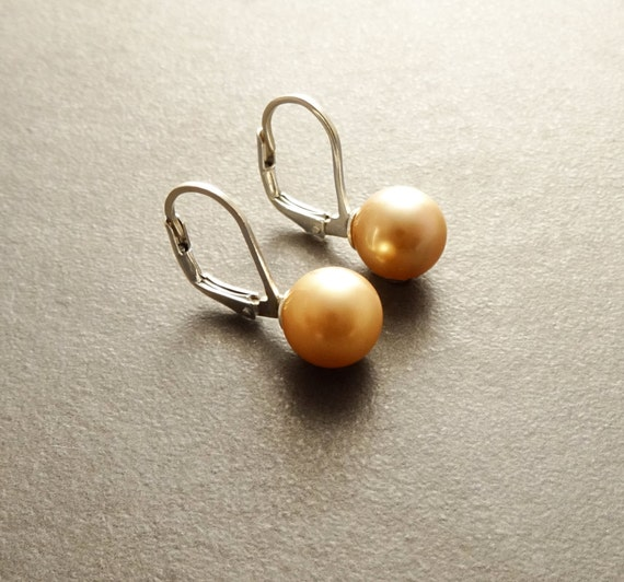 8 mm GENUINE Gold Shell Pearl Earrings, Sterling Silver, Lever Back Earrings, Minimalist, Pearl Jewelry, Prom, Wedding, Bridesmaids Gifts
