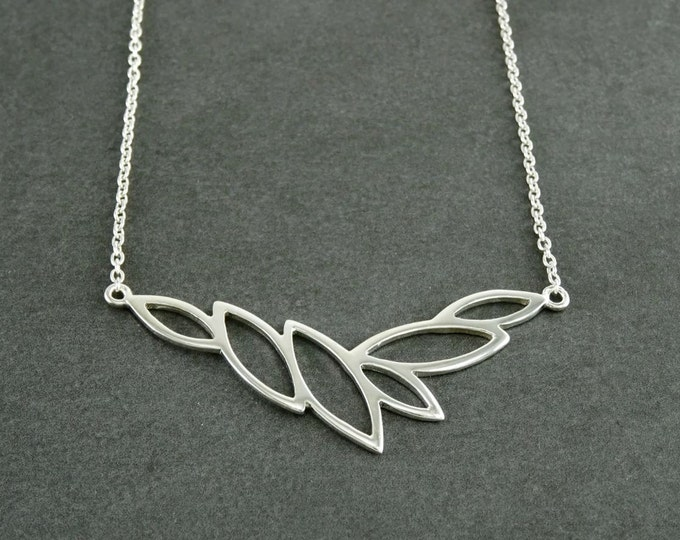 Leaves collar, Sterling Silver 925, Horizontal, Leaf Skeleton Necklace, Organic Nature gift for Woman, Jewelry, Foliage Choker,