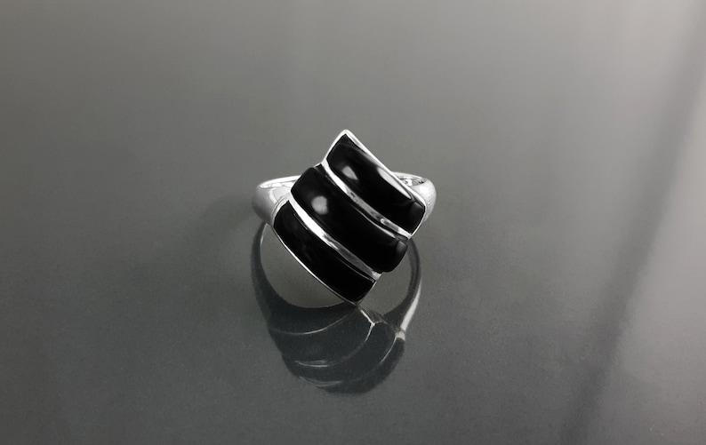 Black Square Ring Sterling Silver Onyx Stones Geometric image 0