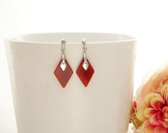 Red Dangle Earrings, Sterling Silver, Diamond Shape, Red Agate Stone Earrings, Carnelian Stones Earrings, Ruby Color, Modern Earrings