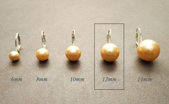 12 mm GENUINE Gold Shell Pearl Earrings, Sterling Silver, Lever Back Earrings, Minimalist, Pearl Jewelry, Prom, Wedding, Bridesmaids Gifts