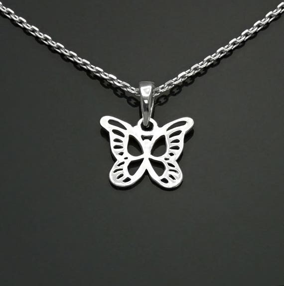 Butterfly Necklace, Sterling Silver, Filigree Butterflies Necklace, Dainty Nature Boho Jewelry, Open Work Charm, Gift for Girls, for  Women