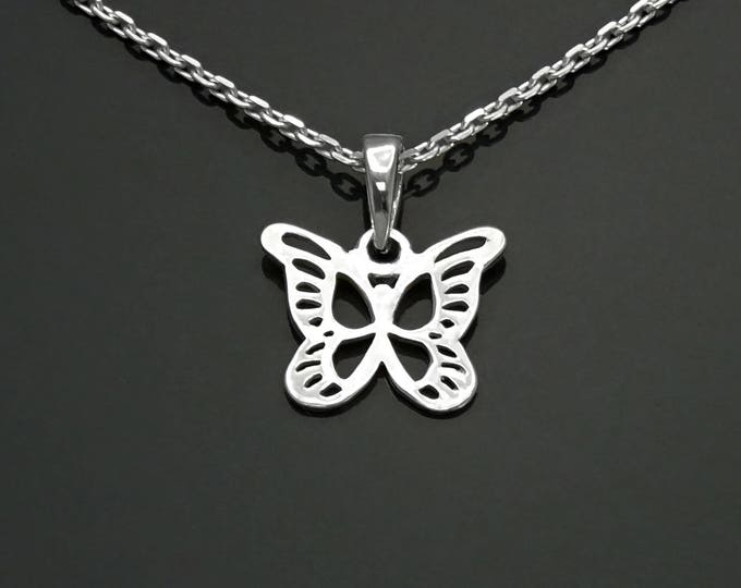 Butterfly Necklace, Sterling Silver, Filigree Butterflies Necklace, Dainty Nature Boho Jewelry, Filigree Charm, Gift for Girls, for Women