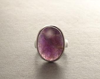 Amethyst Ring, Sterling Silver, NATURAL Purple Amethyst Gemstone, Designer Oval Stone Ring, Modern Minimalist Jewelry, Birthstone