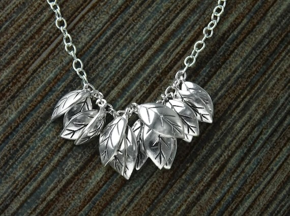 Silver Leaves Necklace, Sterling Silver, nature inspired collar, handcrafted foliage design, woman gift