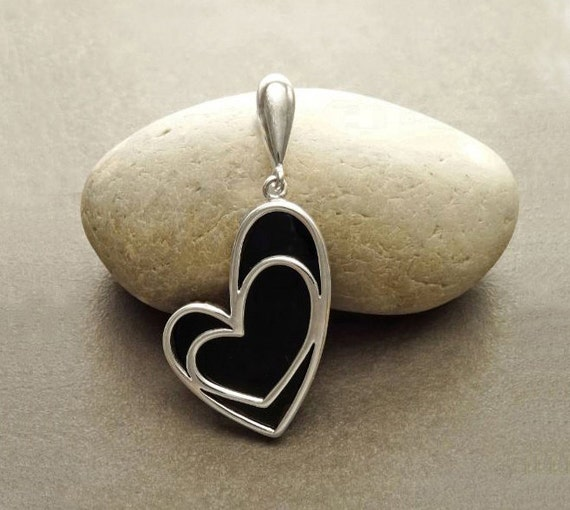 Statement Pendant Onyx  Heart - Sterling Silver Heart-shaped Pendant with Onyx Gemstone under Heart Filigree - Modern Love Pendant.