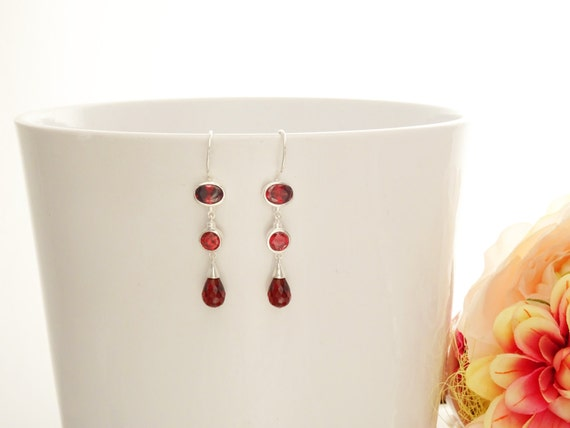 Garnet Chandelier Earrings - Hook Earrings - Sterling Silver Drop Earrings - Garnet Cubic Zirconias - Long silver earrings - Modern - Dangly