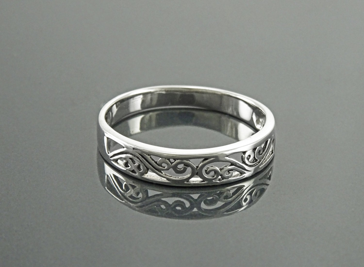 a99407257cd81 Filigree Band Ring, Sterling Silver, Art Nouveau Ring, Openwork Lace,  Promise Ring, Bridesmaid Gift, Stackable Ring, Midi Ring, Boho Jewelry
