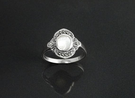 Dainty Vintage Ring, Sterling Silver, Small Art Deco Marcasites Ring, Oval GENUINE Mother of Pearl, Reissued Antique Retro Inspired Jewelry