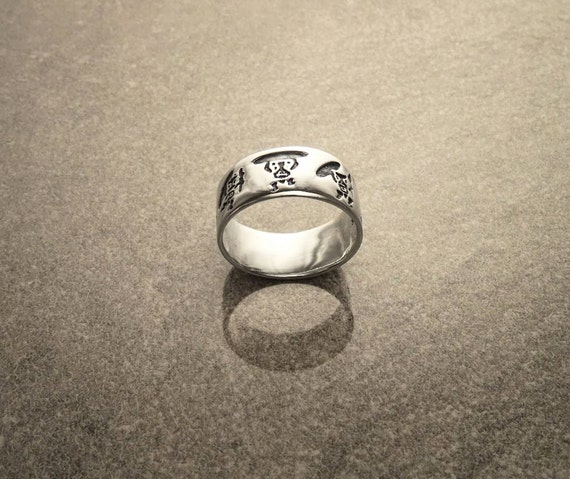 Sterling Silver Band Ring, with Black engraved Hawaiian Tikis and Surf Pattern. Unique Handmade Men Thumb Ring. Tribal Style Band Ring.